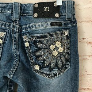 MISS ME Size 26 Jeans Daisy Flower Bootcut